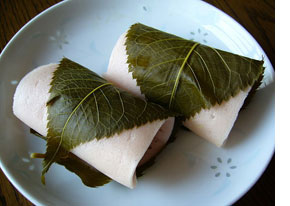 A rice cake filled with sweet bean paste and wrapped in a pickled cherry leaf,katori-city,japan